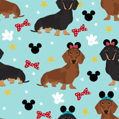 dachshund theme park vacation dog breed fabric blue