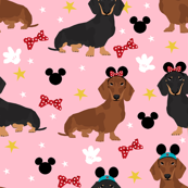 dachshund theme park vacation dog breed fabric pink