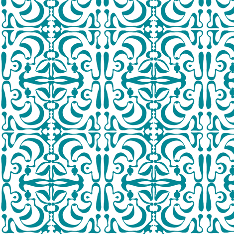 SUNNY SIDE Turquoise on White fabric by shi_designs on Spoonflower - custom fabric