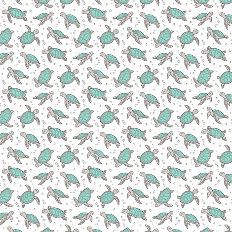 Sea Turtles Nautical Ocean Mint Green on White Tiny Small fabric by caja_design on Spoonflower - custom fabric