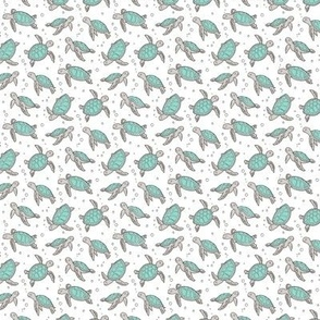 Sea Turtles Nautical Ocean Mint Green on White Tiny Small