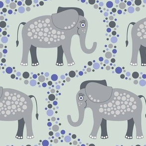 Elephants and Polka Dots (Gray)