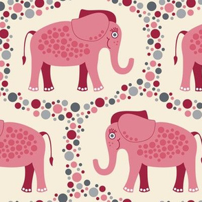 Elephants and Polka Dots (Pink)