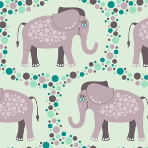 Elephants and Polka Dots (Purple)