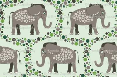 Elephants and Polka Dots (Taupe)