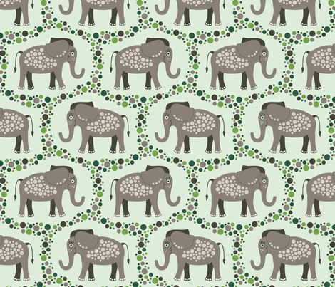 Elephants and Polka Dots (Taupe) fabric by brendazapotosky on Spoonflower - custom fabric