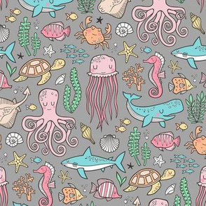 Ocean Marine Sea Life Doodle with Shark, Whale, Octopus, Yellyfish, Seaturtle on Grey Smaller