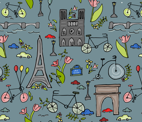 Cycling through Paris fabric by amy_maccready on Spoonflower - custom fabric