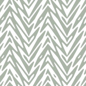 large feather zigzag - grey and white