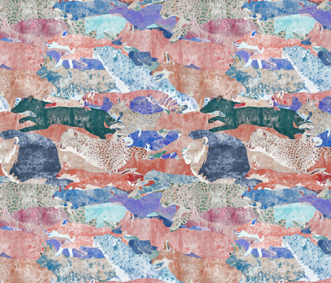 Wild Watercolored Felines Canines and Friends fabric by rusticcorgi on Spoonflower - custom fabric
