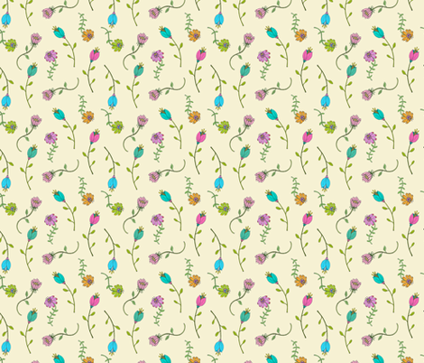 Garden Flowers on Cream, Dainty Floral, Hand Drawn Flower Petals,  Botanicals fabric by galleryinthegardendesigns on Spoonflower - custom fabric