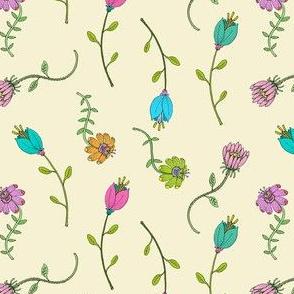Garden Flowers on Cream, Dainty Floral, Hand Drawn Flower Petals,  Botanicals