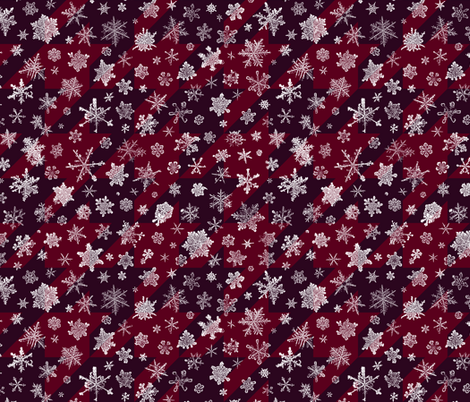 snowflakes on red houndstooth  fabric by weavingmajor on Spoonflower - custom fabric
