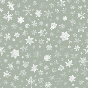 photographic snowflakes on cool grey (large snowflakes)