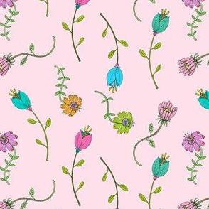 Pretty and Dainty Flowers on Pink, Girls Room Florals, Summer Garden Botanicals