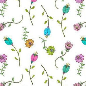 Multi Colored Wildflowers on White, Small Delicate Botanicals