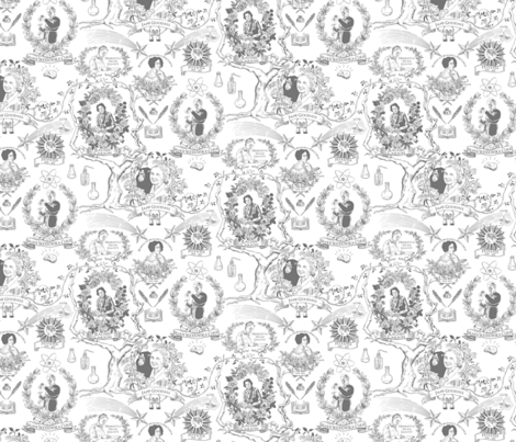 Women of Science/Learning small gray fabric by vinpauld on Spoonflower - custom fabric