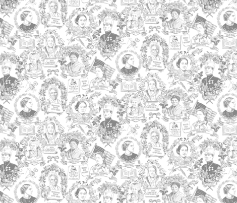 Feminist Pioneers Gray Small fabric by vinpauld on Spoonflower - custom fabric