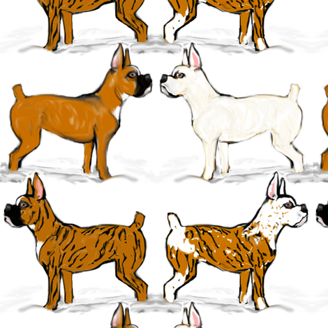 Assorted Boxer Dogs in Snow fabric by eclectic_house on Spoonflower - custom fabric