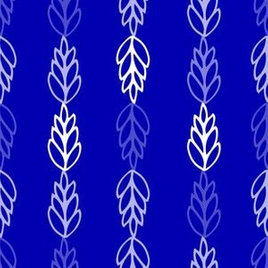 folk leaves in blue