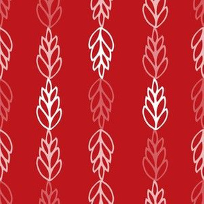 folk leaves in red