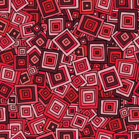 Organic Geometry - Red Squares fabric by jenn_borek on Spoonflower - custom fabric