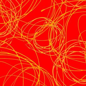 Red with Orange Scribble