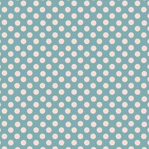 Blush polka dots on teal