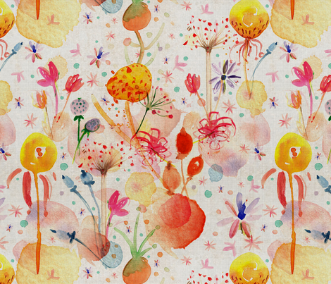 Watercolor meadow fabric by pikku_susi on Spoonflower - custom fabric