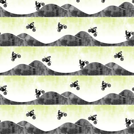 (small scale) motocross / dirt bike || faded lime fabric by littlearrowdesign on Spoonflower - custom fabric