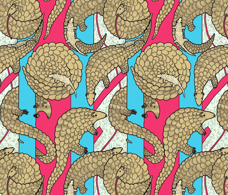 Pangolin - Endangered Species fabric by lucybaribeau on Spoonflower - custom fabric