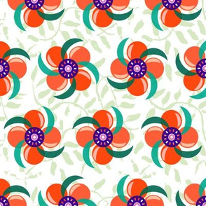 Pinwheel Flowers_Red & Orange