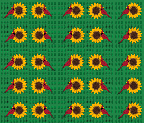 Sunflower and Cardinal (Green Leaves) fabric by uniquely_fabric on Spoonflower - custom fabric