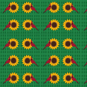 Sunflower and Cardinal (Green Leaves)