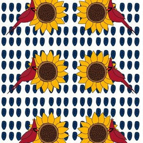 Sunflower and Cardinal (Navy and White)