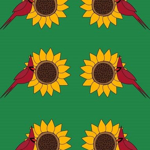 Sunflower and Cardinal (Green)