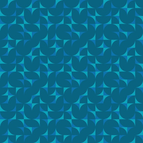 geometric tiles - surfing waves coordinate in midday blue2