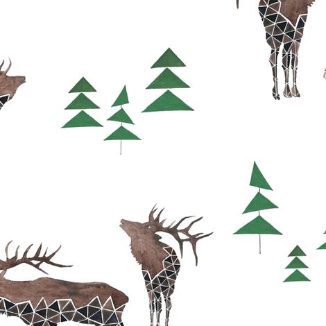 elks-white fabric by lnd_art on Spoonflower - custom fabric