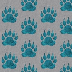 """2"""" Bear Paws - teal on grey"""