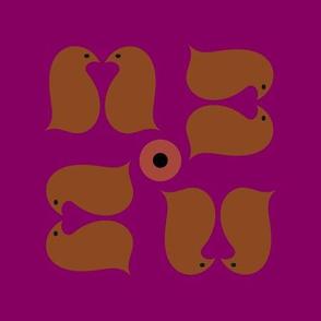 Lovebird Penguins magenta rust