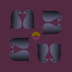 Lovebird penguins gray purple