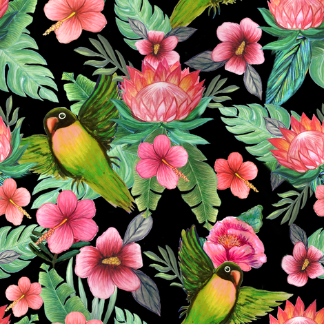 Hibiscus Floral Lovebirds fabric by magentarosedesigns on Spoonflower - custom fabric