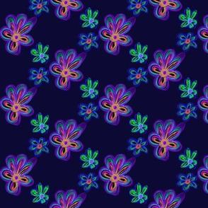 Frilly Fantasy Flowers Adrift on Blackberry - Medium Scale
