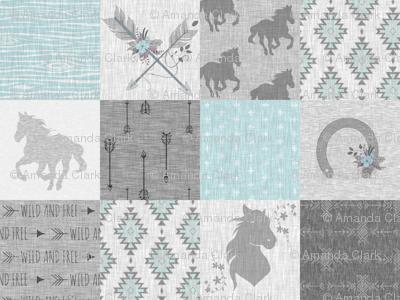 BoHo Horses Quilt - Aqua and Grey - Wild Horses wholecloth quilt