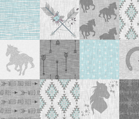 BoHo Horses Quilt - Aqua and Grey - Wild Horses wholecloth quilt fabric by sugarpinedesign on Spoonflower - custom fabric