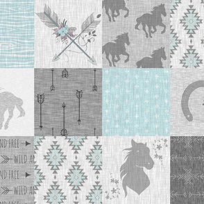 BoHo Horses Quilt - Aqua and Grey - Wild Horses wholecloth quilt