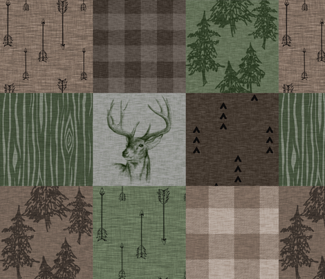 Rustic Buck - Camo - green, brown, tan  fabric by sugarpinedesign on Spoonflower - custom fabric