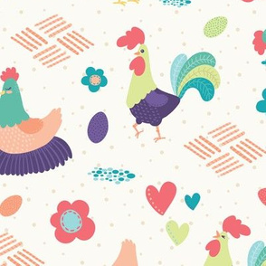 Bright Chickens and Roosters