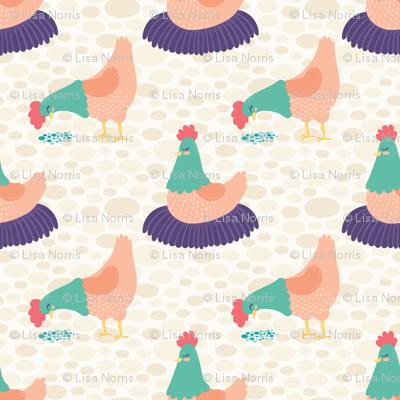 Bright Hens on Cream Background