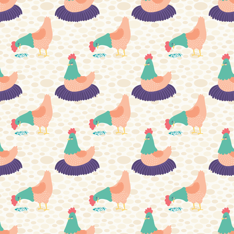 Bright Hens on Cream Background fabric by lisanorrisartworks on Spoonflower - custom fabric